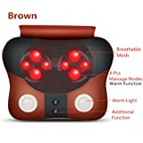Shiatsu Massage Pillow With Soothing Heat - Best Portable Massage Pillow For Back, Shoulders & Neck Pain Relief (brown)