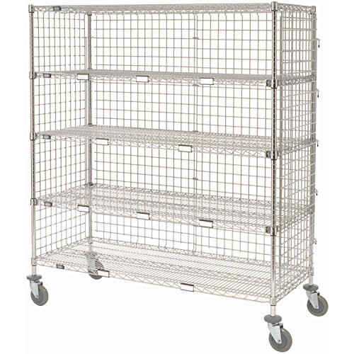 Enclosed Wire Exchange Truck 5 Wire Shelves 800 Lb. Cap., 60