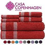 CASA COPENHAGEN Solitaire Colección 600 g/m², Juego de 6 Toallas de algodón…
