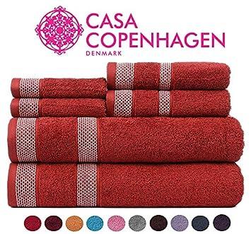CASA COPENHAGEN Solitaire Colección 600 g/m², Juego de 6 Toallas de algodón (baño, Mano y Cara), Sugar Coral: Amazon.es: Hogar