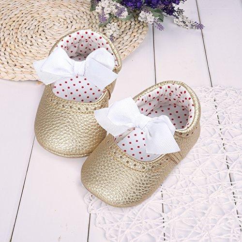 Pueri Rosado Sandalia del bebé Zapatillas agradables adornado con lazo para los primeros pasos Forma de elástico dorado