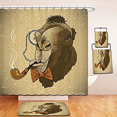 LiczHome Bath Suit: Showercurtain Bathrug Bathtowel Handtowel Animal Pop Art Stylized Hipster Camelith Pipe and Monocle Vintage Humor Fun Cool Graphic Fabric Decor Etra Brown Tan For Bathroom