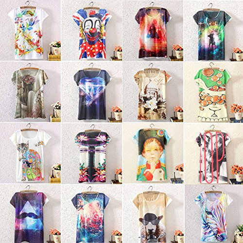 Women Short Sleeve Loose Graphic Printed T Shirt Tee Blouse Tops