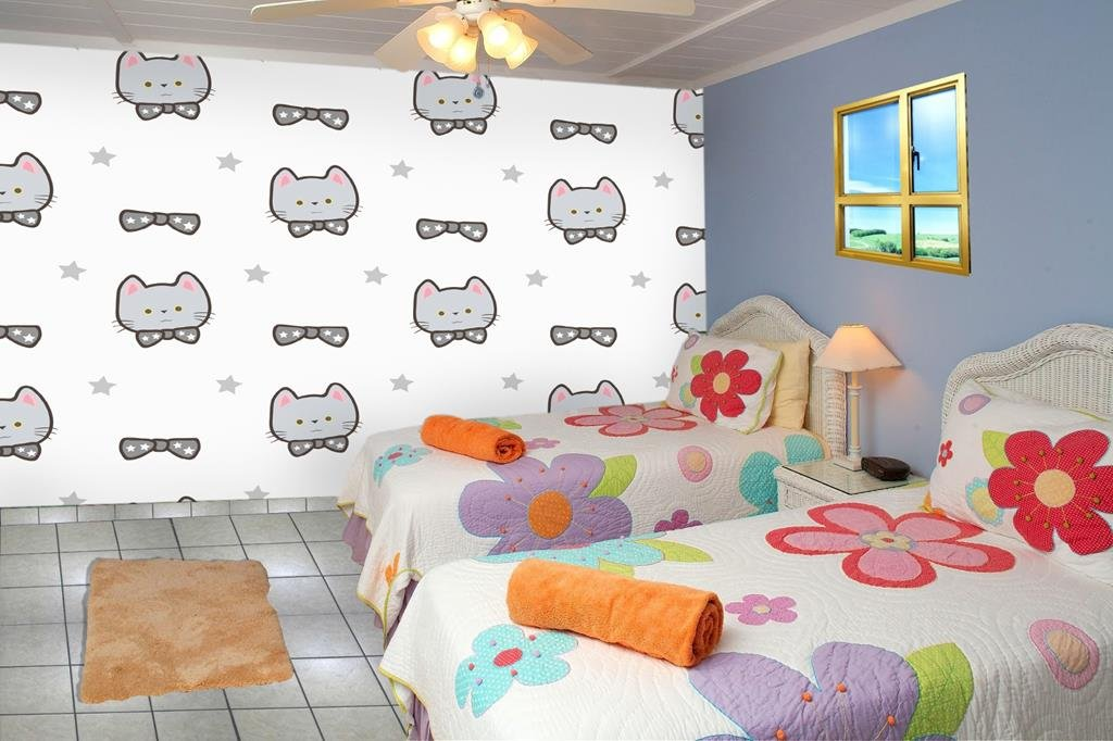 999Store Kitty Leather Wallpaper Wall murals for Kids Room (Covers Approx 90 Sqft)