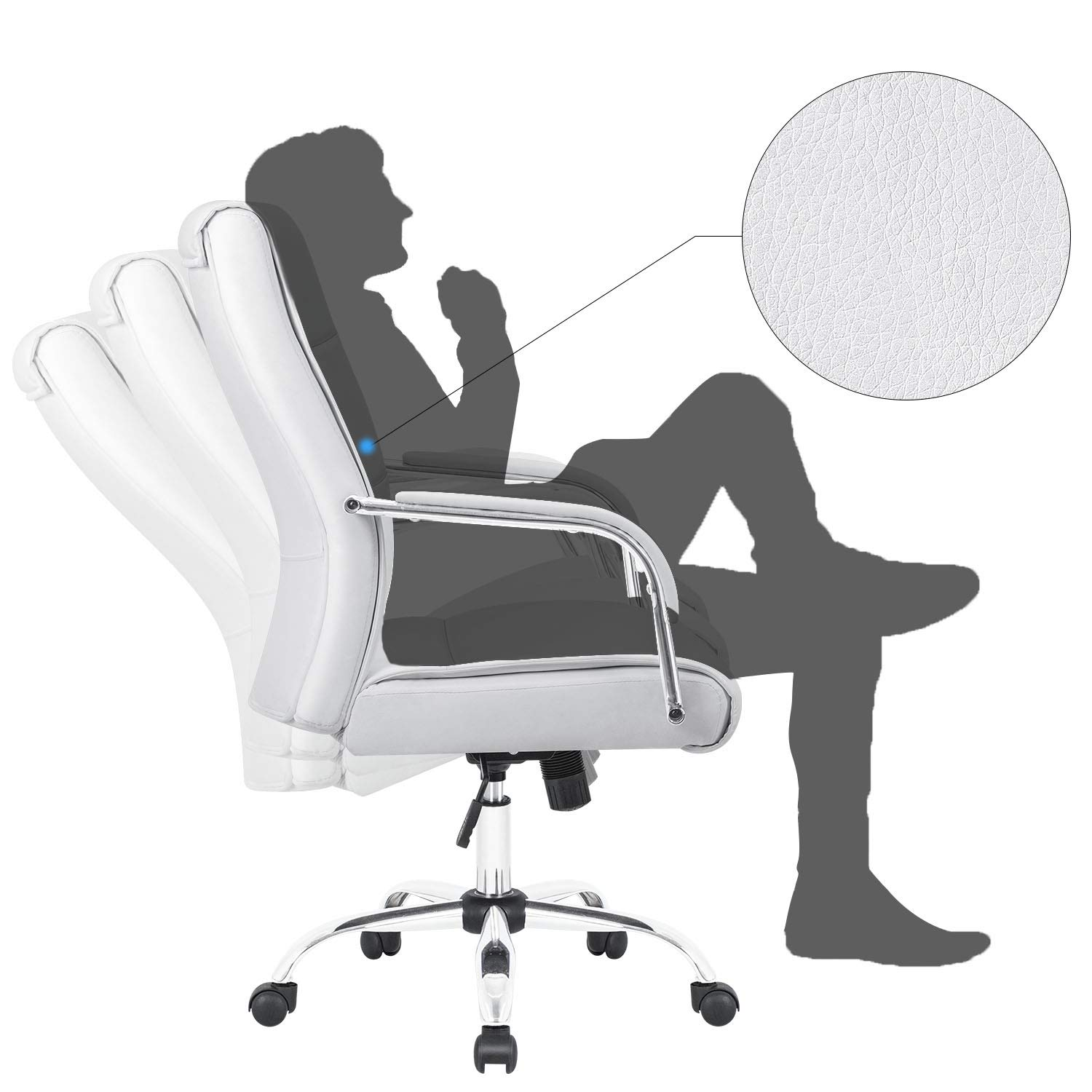 Furmax High Back Office Desk Chair Conference Leather Executive with Padded Armrests,Adjustable Ergonomic Swivel Task Chair with Lumbar Support(White) by Furmax (Image #4)