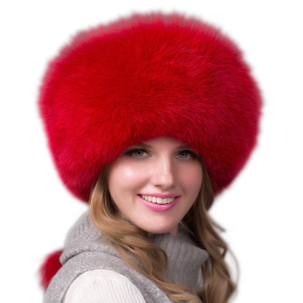 UMREN Women's Faux Fur Hat Cossack Russian Style Hat Caps Winter Earwarmer Earmuff Red