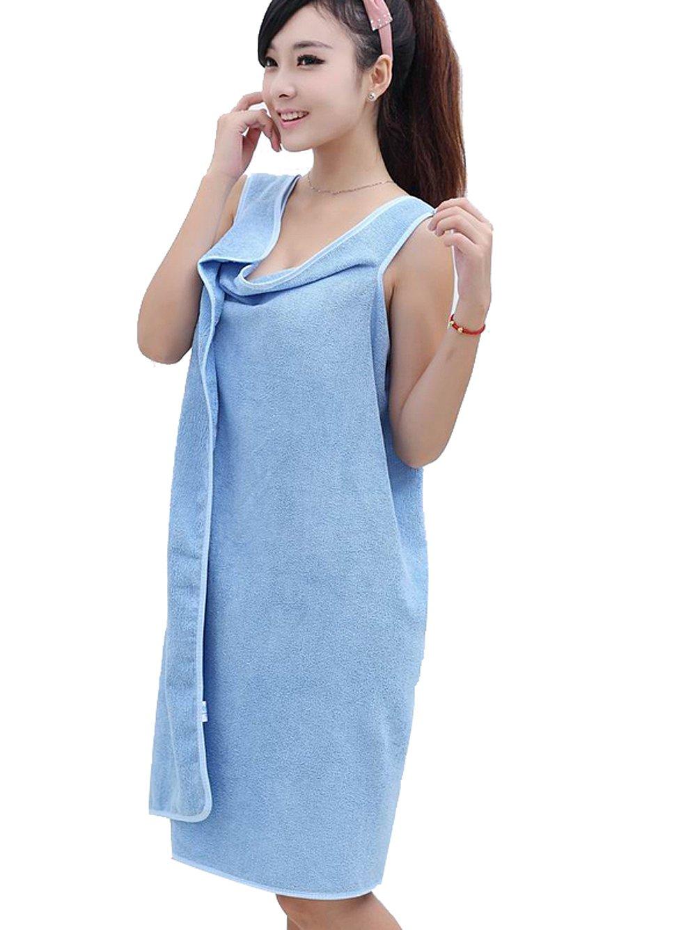Moolecole De Las Mujeres Bañera Toallas y Chicas Bañera Envolver Toallas Usable Ducha Bañera Envolver Mujeres Azul: Amazon.es: Hogar