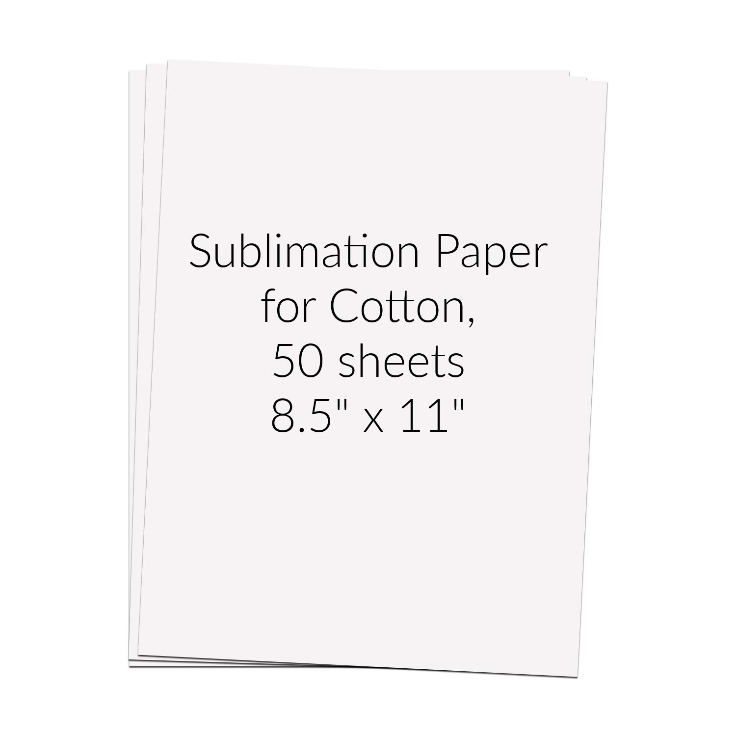 Kate's Craft Store 50 Sheets 8.5''x11'' Sublimation Paper for Cotton for Epson, Ricoh, and Sawgrass Printers with Sublimation Ink