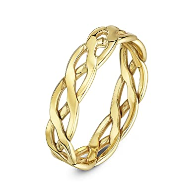 Theia Unisex 9 ct Yellow or White Gold, 5-7 mm Celtic Wedding Ring