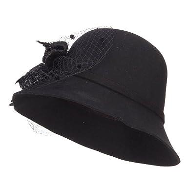 d87039476fd SS Hat Wool Cloche with Net Flower - Black OSFM at Amazon Women s ...