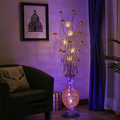 Amazon.com: Led Vase Floor Lamp, Silver Braided Wire And Aluminum ...