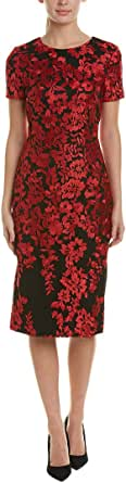 Carmen Marc Valvo Infusion Women's Embroidered Cocktail Dress, red/Black