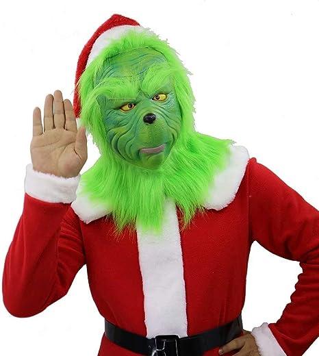 Amatop Disfraz de Grinch, Cosplay Dr. Seuss Christmas Grinch Mask ...