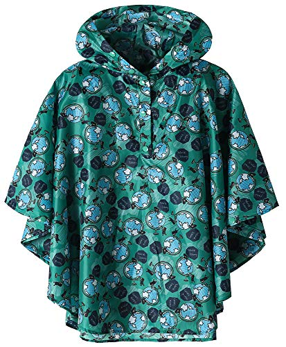 Waterproof Kids Rainwear Lightweight Raincoat Earth Large