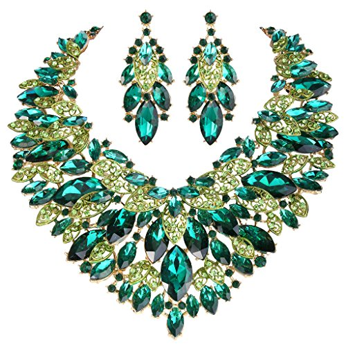 EVER FAITH Women's Rhinestone Crystal Elegant Leaves Cluster Necklace Earrings Set Green Gold-Tone