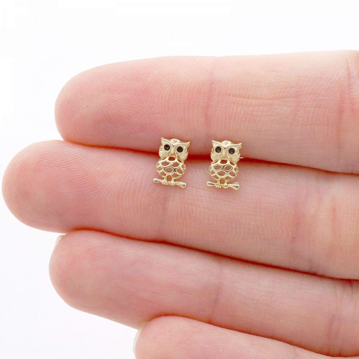 14k Yellow /& White Gold Natural Onyx /& Ruby Owl Screwback Stud Kid Earrings