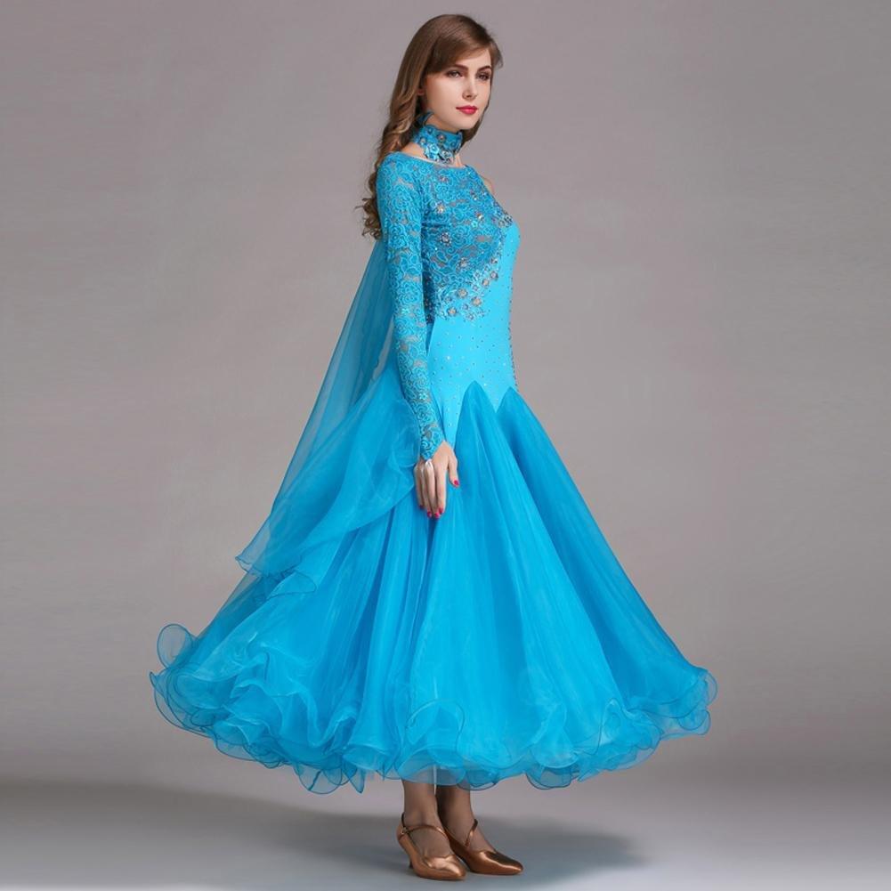 Wanson Damen Standard Tanz Kleider Kleider Kleider Schnüren Spleißen Asymmetrisch Lange Ärmel Große Schaukel Für den modernen Tanz Wettbewerb Kleider B078HC1D5S Bekleidung Neuer Stil a0b7f9