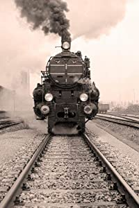 Steam Engine Locomotive Train Black and White Vintage Retro Photo Photograph Cool Wall Decor Art Print Poster 24x36