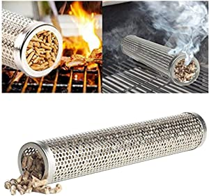Pellet Smoking Tube, Smoker Grills for Cold/Hot Smoking, Cleaning Brush, 2 Hooks - 6 Inch