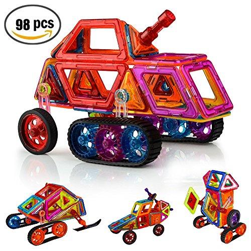 Security Magnetic Tiles Building Block Magnet Stacking Toy Set, Magnet Tiles Kits for Kids (Above 3 Year-Old ) - 98 PCS (Magnet Motor Kit)
