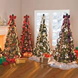 BrylaneHome Flat-To-Fabulous Fully Decorated, Pre-Lit 6FT Tree (SILVER GOLD,0)