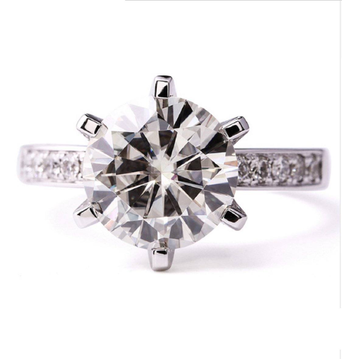 GOWE 6.0 CTW Carat Lab Grown Moissanite Diamond Wedding Engagement Solitaire Ring in Solid