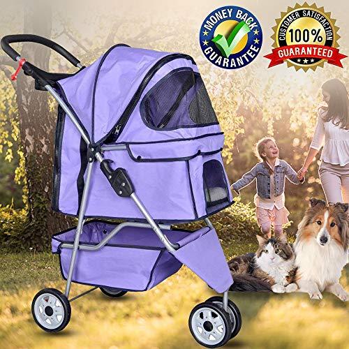 Bigacc 3 Wheels Pet Stroller Large/Small Dog Stroller for Dog, Cat Stroller Pet Jogging Stroller Pet Jogger Stroller Dog/Cat Cage Travel Lite Foldable Carrier Strolling Cart,Purple