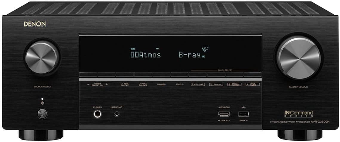 Denon AVR-X3500 Receiver – 8 HDMI Input 3 Output 7.2 Channel 4K Ultra HD Video Home Theater Dolby Surround Sound Renewed