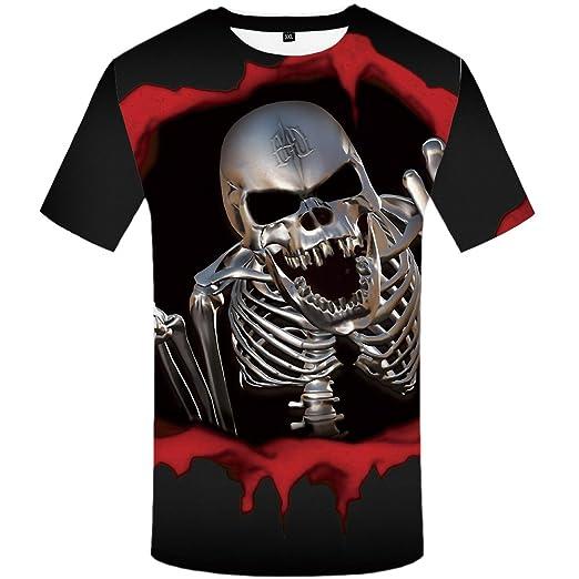 7e225ff31 Amazon.com  KYKU Blood Skull T Shirt Men 3D Printed T-Shirt Short ...