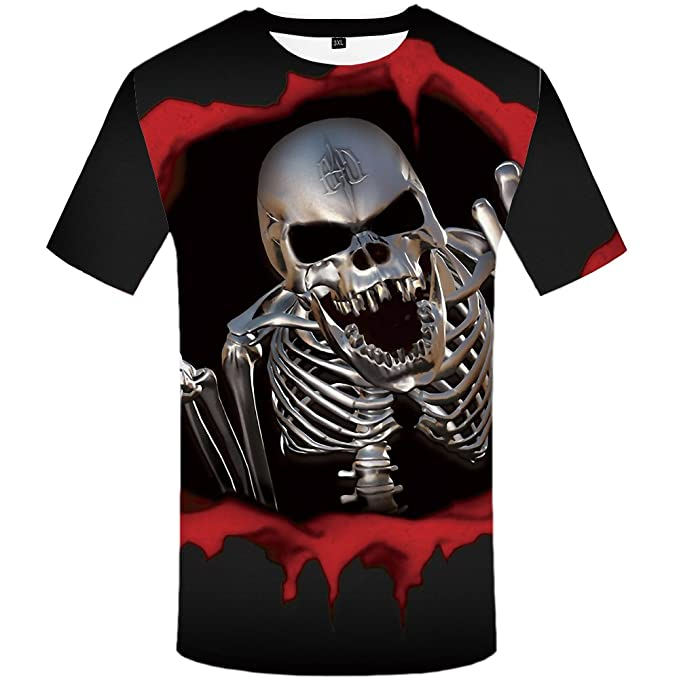 89cb1c731c96 Image Unavailable. Image not available for. Color: KYKU Blood Skull T Shirt  Men 3D Printed T-Shirt Short Sleeve Funny Punk Tee