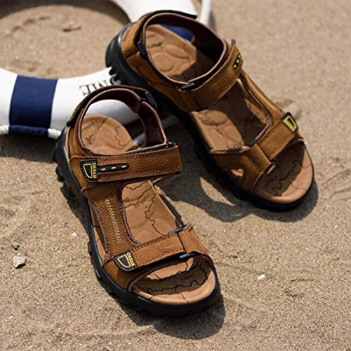 ZHONGST uomo Lightbrown estate outdoor casual sandali pelle scarpe spiaggia sandali 4xFZ4