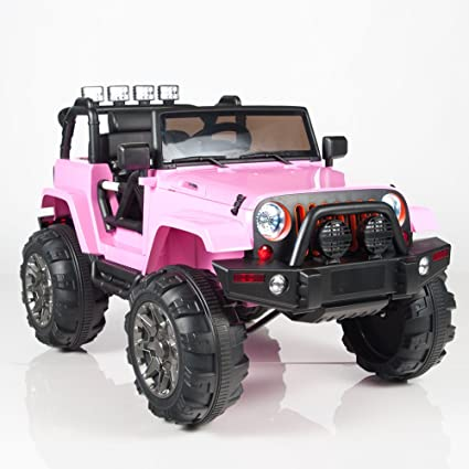 Amazon kids 12v battery operated ride on jeep truck with big kids 12v battery operated ride on jeep truck with big wheels rc remote control publicscrutiny Images