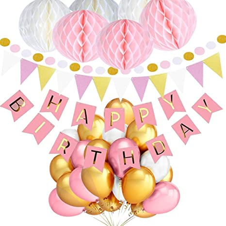 Junto Feliz cumpleaños con globos rosados, blancos y ...