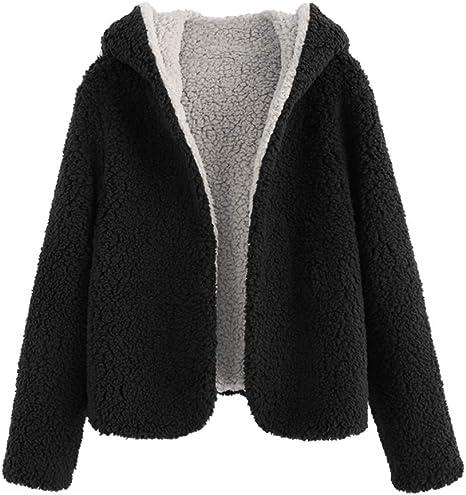 ZAFUL Women's Reversible Open Front Coat Lamb Wool Hooded Cardigan Jacket Teddy Coats