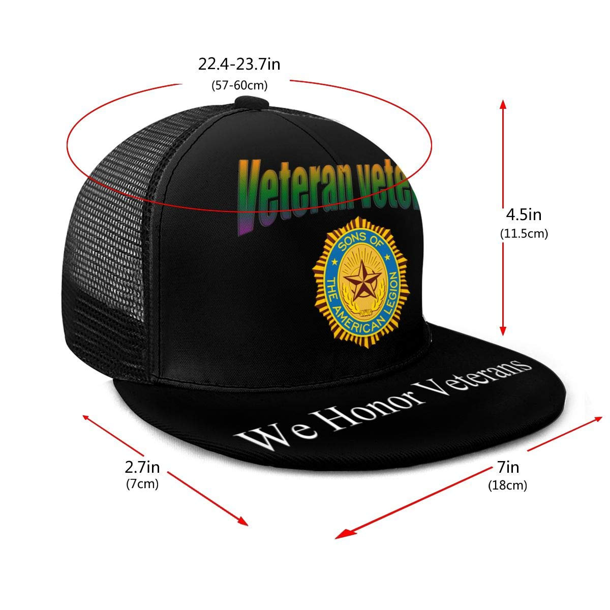 Sons of The American Legion Classic Grid Cap Flat Along Baseball Hat Snapback Unisex Hat Adjustable