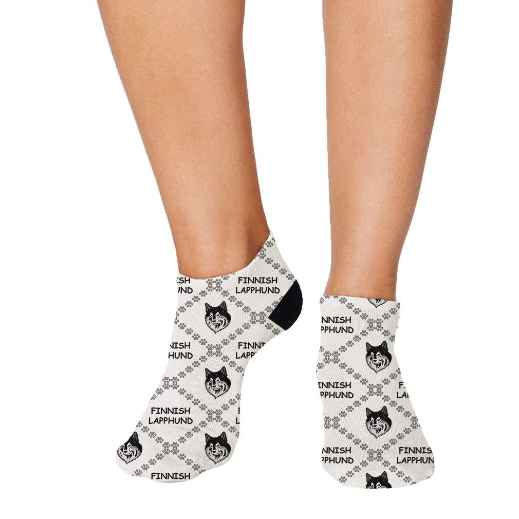 Finnish Lapphund Dog Paws Pattern Men-Women Adult Ankle Socks Novelty Socks