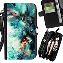 Mystic Nebula Cosmos Space - Flip Credit Card Slots Pu Holster Leather Wallet Pouch Protective Skin Case Cover For Sony Xperia T3