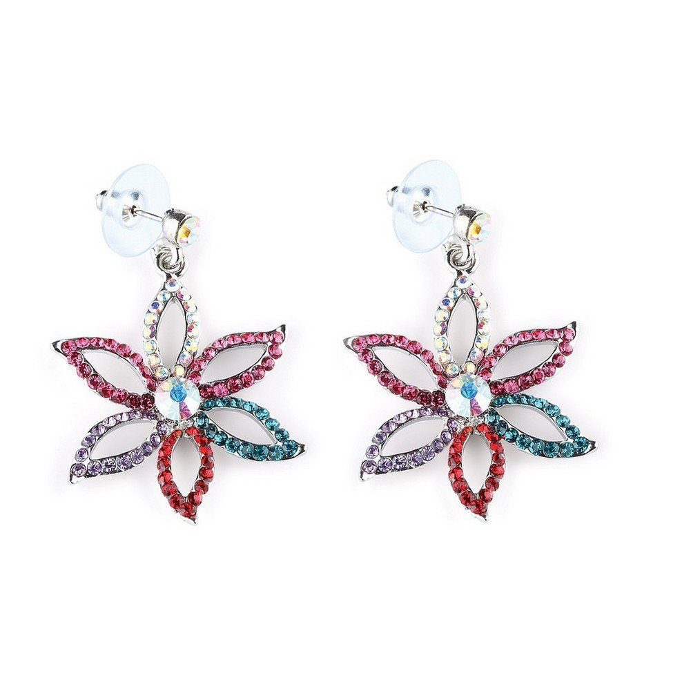 Drop Earring Studded 6 Petal Flower 40mm Made With Crystal Glass /& Zinc Alloy by JOE COOL