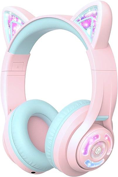 Iclever Kopfhörer Für Kinder Katzen Ohren Led Light Up Elektronik