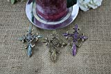DECORATIVE CANDLE PIN CRYSTAL CROSS (SET OF 3)