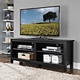 "WE 58"" Wood TV Stand Storage Console, Black"