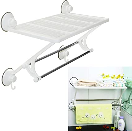 promobo etagere de salle de bain fixation ventouse support tablette 2 crochets accroche serviettes