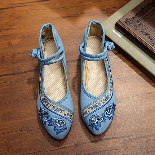 Womens Rose Embroidery Oxfords Shoes Flat Soft Rubber Sole Wedges Dance Sneaker Blue 1UdB7x4