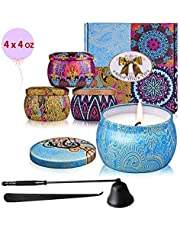 Scented Candles Gift Set 4 Pcs 120 Hrs Burning Time 4 Flavors Aromatherapy Natural Soy Wax Candle Eco-Friendly Smokeless for Her Birthday/Mother's/Valentine's Day Present Candle Snuffer and Dipper