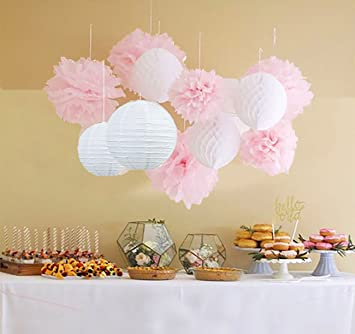 qians party 12pcs white pink pom pom flower tissue paper pom pom honeycomb ball paper lantern - Pom Pom Decorations