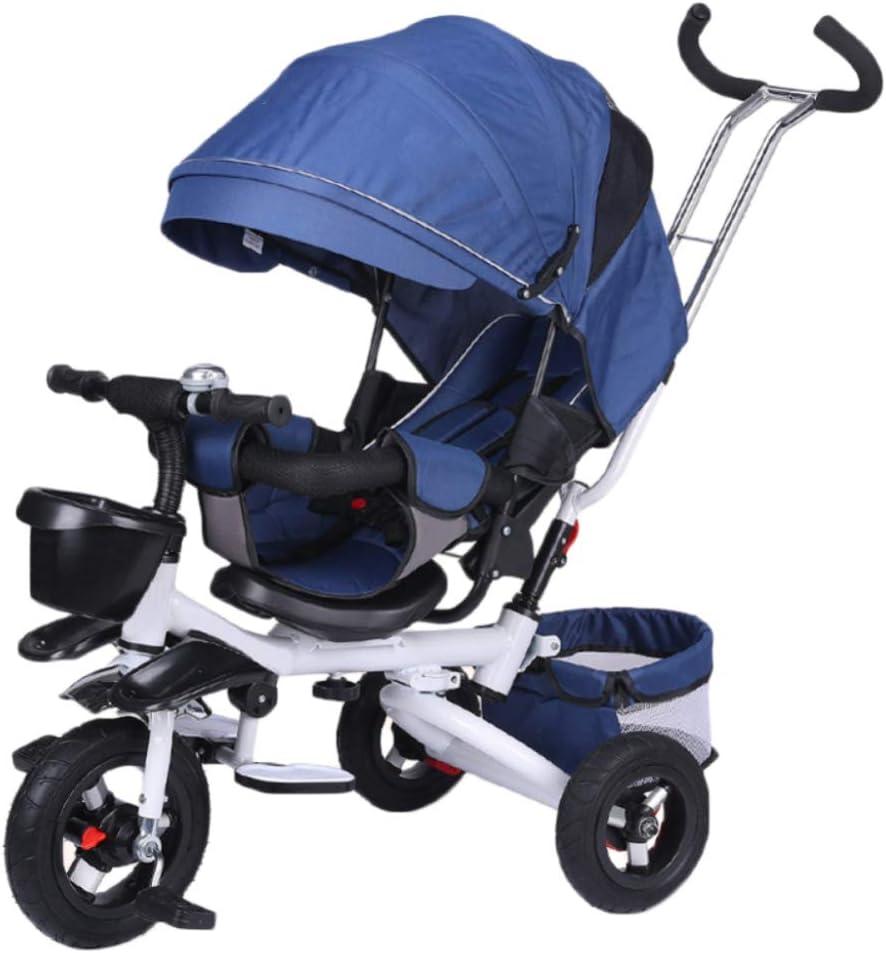 HBSC Triciclo para niños 4 en 1, Asiento cómodo y Ajustable, el bebé Puede Sentarse o acostarse en posición Plana, Apto para 6 Meses - 6 años 1bicycle Regalo Blue1