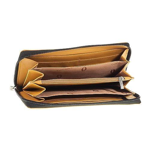 fe12da7f73 Portafoglio Donna nero e giallo zip ventaglio 6 scomparti vera pelle Made  in Italy Tuscan's