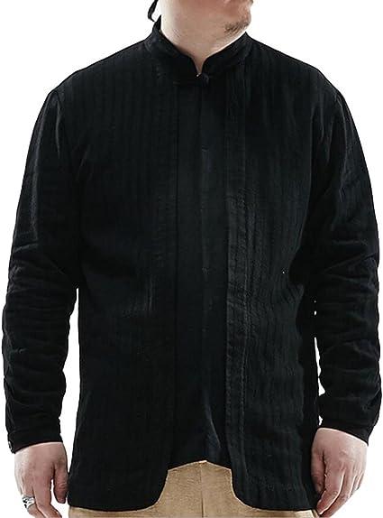 De Gran Tamaño De Manga Larga Camisa De Algodón Suelta Y Cómoda Camiseta De La Camisa De Los Hombres Chinos: Amazon.es: Ropa y accesorios
