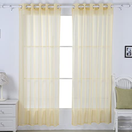Deconovo Solid Grommet Sheer Curtains Voile Panels Tulle Window For Living Room 52W