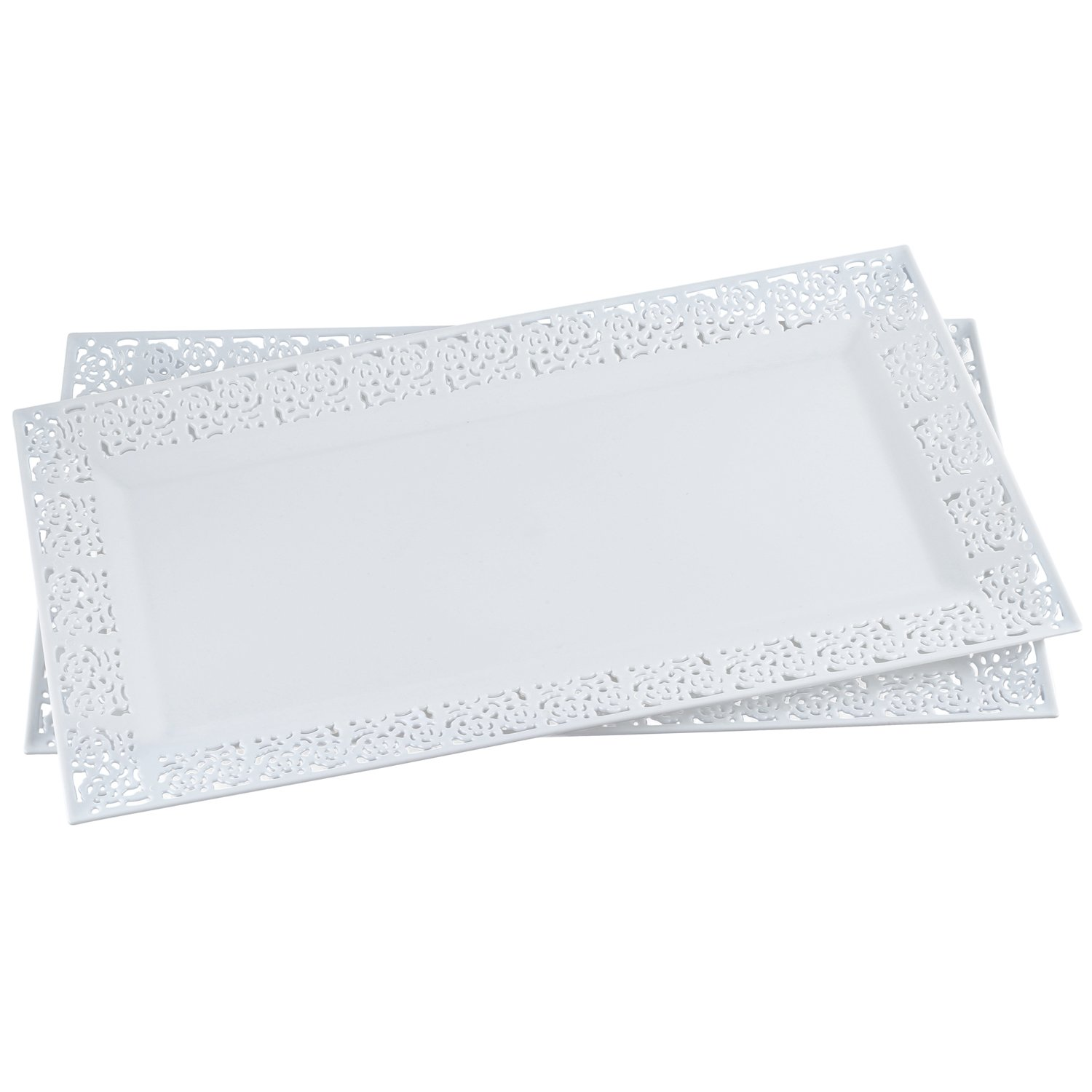 """Silver Spoons and More,white Lace Rim 14""""x7.5"""" Heavyweight Plastic Set of 2 Serving Trays"""